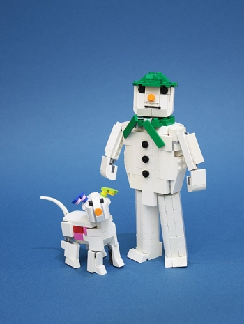 The snowman and the snowdog.